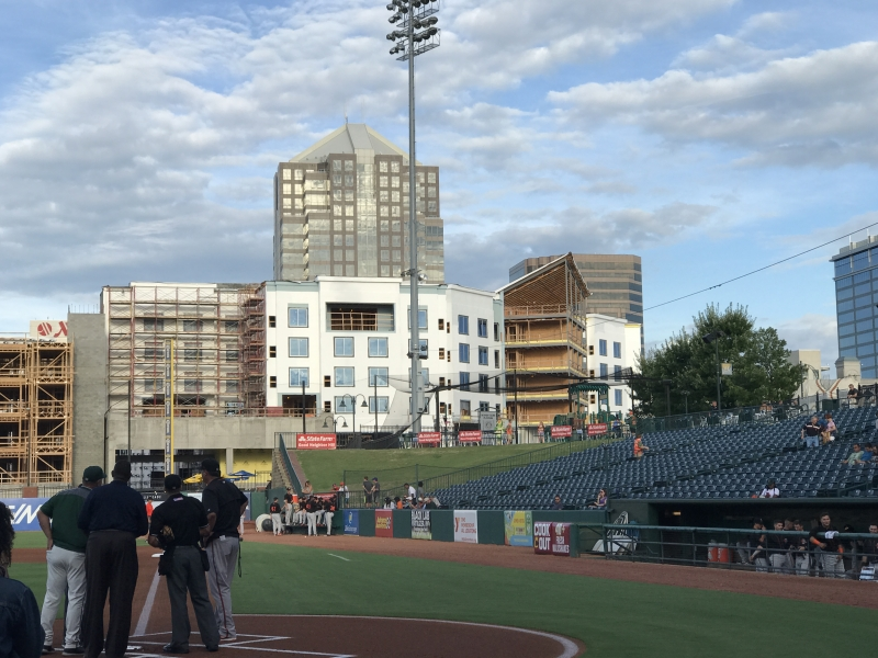 Downtown ballpark with Greensboro skyline in the background